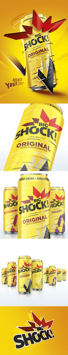 Packaging Design Big Shock by Fiala & Šebek #energy #drink #shock #design #packaging