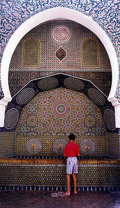 Fuente de agua en Marrakesh, Marruecos.