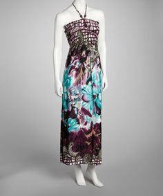 I love the colors! Take a look at this Purple Floral Halter Maxi Dress by Cristina Love on #zulily today!