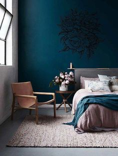 Peony Wall Decal Peony Flowers Wall Sticker Vintage Peony Wall Stickers Peony Wall Decor - Home Decor Blue Bedroom, Bedroom Colors, Home Decor Bedroom, Bedroom Ideas, Bedroom Color Schemes, Master Bedroom, Home Design, Design Ideas, Wall Stickers Vintage