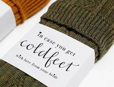 $2.90 - Cold Feet Sock Wrapper | Cold Feet Label | Just in case you get cold feet | For Groom |