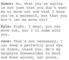 Jace getting protective over Simon (Jace Herondale/Lightwood, Simon Lewis as Jordan Kyle)