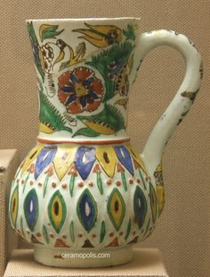 Kutahya Jug 18th Glazed Tiles, Turkish Tiles, Victoria And Albert Museum, Graphic Design Posters, Religious Art, Ceramic Pottery, Old World, 18th, Stoneware