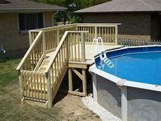 Above Ground Pool Deck Framing Plans - Pool Ideas 2019 Above Ground Pool Landscaping, Backyard Pool Landscaping, Small Backyard Pools, Small Pools, Small Patio, Small Decks, Small Backyards, Pool Fence, Small Yards