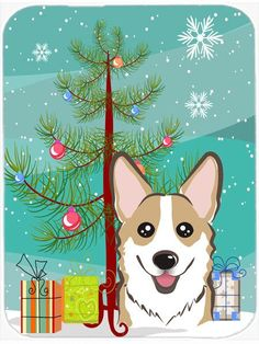 Under the Christmas Tree and Corgi Glass Cutting Board