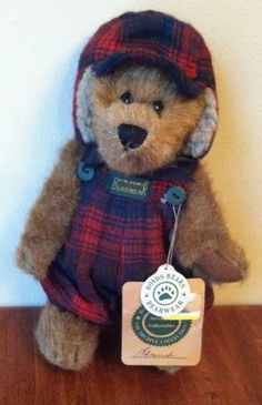 "Boyds Bears Plush Bearwear ""Edmund"" Red Plaid Overalls Hunting Hat EUC WTAG #AllOccasion"