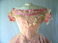 1861-65 pink moire evening dress. Travis Triplett Collection.