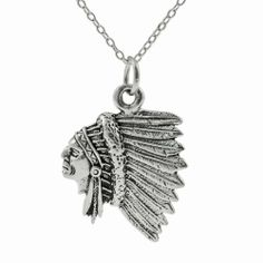 Sterling Silver Indian Chief Head Necklace SilverBin. $17.00. Measures: 27.2mm H x 18.2mm W x 2.3mm thick. Features: a textured Indian chief head design. Crafted of fine sterling silver. Includes: 18-inch cable chain. High polished finished. Save 55% Off!