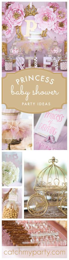 An adorable elegant Princess Baby Shower party in Pink and Gold! See more party ideas at Catchmyparty.com!