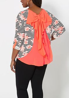 Plus Neon Striped Bow Back Top | ure21