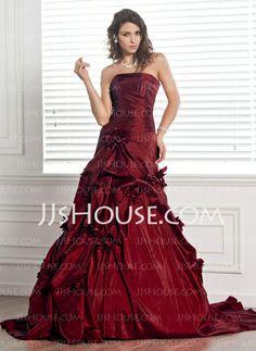 Wedding Dresses - $218.99 - Ball-Gown Strapless Chapel Train Taffeta Wedding Dress With Ruffle Flower(s) (002000481) http://jjshouse.com/Ball-Gown-Strapless-Chapel-Train-Taffeta-Wedding-Dress-With-Ruffle-Flower-S-002000481-g481