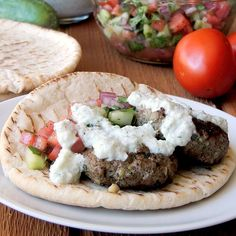 Beef Kofta with Tzatziki and Cucumber Tomato Relish. A healthy dinner recipe perfect for Weekday Supper. Find more recipes like this one at www.sundaysuppermovement.com. #WeekdaySupper