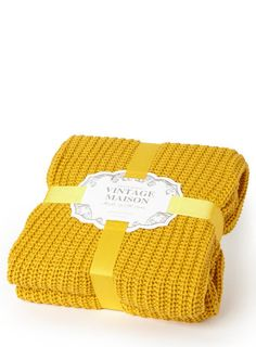 Mustard Vintage rib knitted throw - Bed Linen - Home, Lighting & Furniture