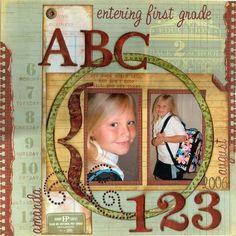 scrapebook layouts for school | Scrapbook School Layouts / Entering First Grade, scrapbook layout