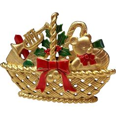 Xmas Christmas Basket Toys JJ pin brooch Jonette