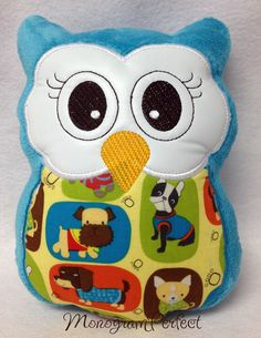 Blue Stuffed Plush Owl Reading Buddy Soft Toy by MonogramPerfect, $19.99