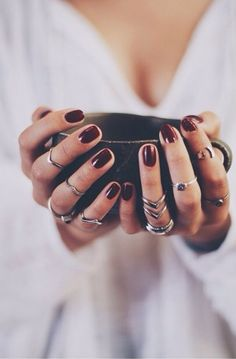 Jewellery and nails. Love this colour #rings #jewellery #nails