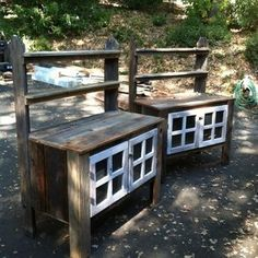 What about a bench like this Potting benche? Only with a multi-functional back/shelf and lockable cabinets for the kitchen table and bonus kitchen storage? Garden Sink, Garden Table, Design Loft, Design Studio, Wooden Furniture, Outdoor Furniture Sets, Outdoor Decor, Outdoor Ideas, Outdoor Stuff