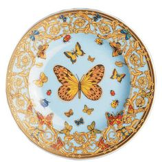 Dessert Plate with be this Versace Butterfly Gold,  brought to the table on the same crystal charger...  one can recognize Versace china anywhere it is so beautiful