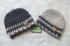 Charcoal Gray/Oatmeal Baby Boy Hat - Set of 2 - Twin Baby Boy hat- CHOOSE YOUR SIZE - Newborn Photography props. $38.99, via Etsy.