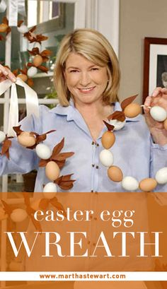 Easter Egg Wreath | Martha Stewart Living -Symbols of rebirth in many cultures, eggs serve as the perfect centerpiece for this festive wreath. To hollow out the eggs, working over a bowl, pierce one end of a raw egg with a pin. Pierce the other end, and use the pin to enlarge the hole slightly and break the yolk. Blow out the insides using an egg-blowing tool or rubber ear syringe, forcing contents of the egg out through the larger hole into a bowl. Do not let the liquid touch the shell.