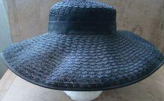 Vintage Hat Woven Black Straw Large Floppy Brim Womens Fashion or Sun Very Nice | eBay
