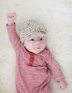 So adorable! Newborn Boys Hat Ready to Ship Baby Boys by cherlynnephotography Baby Boy Winter Hats, Baby Boy Hats, Baby Boy Outfits, Crochet Newsboy Hat, Knitted Hats, Crochet Hats, Crochet For Boys, Cute Crochet, Newborn Boy Hats
