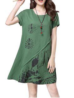 Sale 30% (23.05$) - Casual Women Vintage Printing Short Sleeve loose Dress