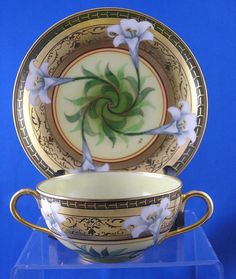 "William Guerin Limoges Pickard ""Easter Lily"" Pattern Bouillon Cup & Saucer Set"