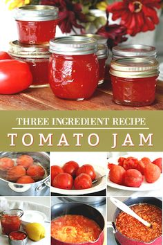 Vintage recipe for Grandmom's Tomato Jam is made using just tomatoes, sugar and lemon or lime juice. Delicious on toast or biscuits and on a cheese board. Perfect use for garden fresh tomatoes for canning and a lovely addition to a gift basket. Tomato Jelly, Tomato Jam, Tomato Preserves, Jam Recipes, Canning Recipes, Chutney, Recipe Using Tomatoes, Pepper Jelly Recipes, Recipes