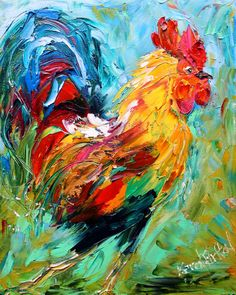 Original oil painting Rooster Chicken palette knife impasto on canvas impressionism fine art by Karen Tarlton