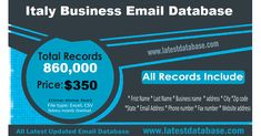 Italy email database for selling your enterprise in Italy. We have an awesome email database from Italy. If you have more time to spend on constructing your centered email lists and have spent extra more money for getting desirable e-mail database  Italy email database Marketing Direct, Email Marketing Lists, Email Marketing Campaign, E-mail Marketing, Online Marketing, Digital Marketing, Business Marketing, Marketing Strategies, Marketing Ideas
