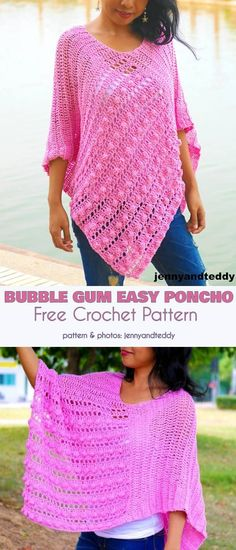 Bubble Gum Easy Poncho Free Crochet Pattern You will love this easy pattern. Bubble Gum Poncho is made from two rectangles and mostly in double crochet stitch so it will grows up Crochet Scarves, Crochet Shawl, Crochet Clothes, Crochet Stitches, Knit Crochet, Free Crochet Poncho Patterns, Free Pattern, Cross Stitches, Crochet Cardigan