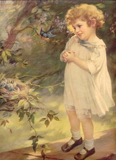 Child with a bluebird, Mabel Rollins Harris.