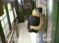 Final hours: In a CCTV image shortly after midnight, Diana appears anxious as she and Dodi walk outside before being collected in their car