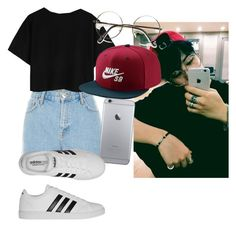 """""""Jimin Inspired Outfit"""" by pandagirl2102 ❤ liked on Polyvore featuring River Island, NIKE and adidas"""