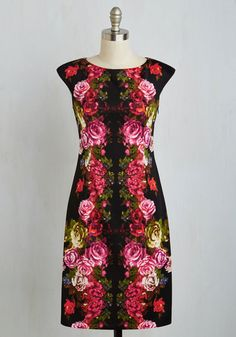 Mirrored Magnificence Dress - Multi, Black, Floral, Print, Daytime Party, Sheath, Short Sleeves, Better, Satin, Knit