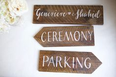 Set of 3 reclaimed wood directional wedding signs. Wedding Direction Signs, Wedding Signs, Event Signage, Directional Signs, Wood Windows, Old Barns, Weathered Wood, Home Signs, Custom Wood