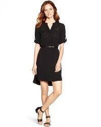 3/4 Sleeve Laser Cut Black Shirt Dress