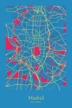 Madrid, Spain Map Print