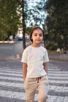 Linen Top, White Linen Top, Kids Clothes, Linen Blouse Girls, Short Sleeve Top, Toddler Top, Linen Shirt, Washed Linen, Ivory Linen Top