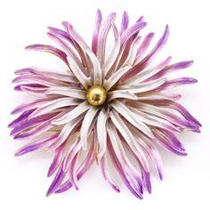 Image of Vintage Large Enamel Ombre Pink Purple Chrysanthemum Pin Brooch