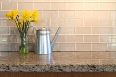 The days when a kitchen backsplash was simply a continuation of whatever surface was on the countertop are long gone. And a simple painted wall as a backsplash? Today, the backsplash is regarded as a key design element… Continue Reading → Glass Subway Tile Backsplash, Subway Tile Kitchen, Herringbone Backsplash, Kitchen Backsplash, Subway Tiles, Backsplash Ideas, Backsplash Design, Tile Ideas, Kitchen Cabinets