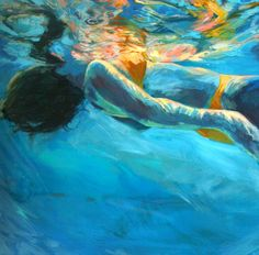 Art. Original Underwater Painting . Emma -- Comes home Framed in beautiful light Birch Frame 23 x 23. $630.00, via Etsy.