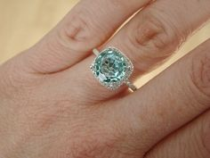 Gemstone Engagement Rings Mint Green And Halo On Pinterest