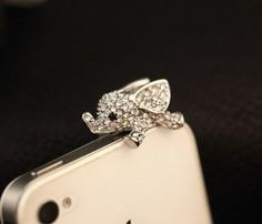 Big Mango Cute Crystal Elephant Anti Dust Plug Stopper / Ear Cap / Cell Phone Charms for Apple iPhone 5 5S,iPhone 4 4s ,iPad Mini iPad 2 ,iPod Touch 5 4,Samsung Galaxy S3 S4 Note3 Note 2,HTC and Other 3.5mm Earphone Jack Phones ( Silver )