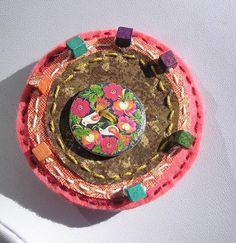 Unique Brooch Czech BeadsFelt and Fabric by OfficinaBohemica