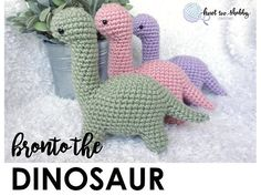 PATTERN: Crochet Amigurumi Bronto the Dinosaur Pattern, Brontosaurus, Dino, PDF Digital Download