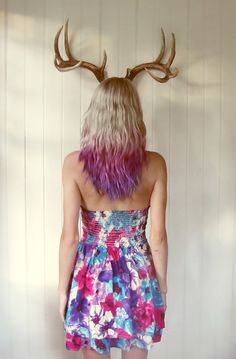 Blonde and Pink Ombre hair + purple and pink strapless sun dress