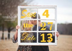 This is a super cute idea for using an old window - love it. Save the Date.